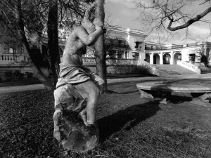Statue still standing in front of the Guggenheim Mansion