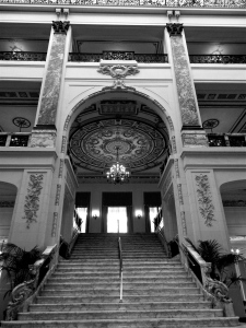 The massive marble staircase made famous in the 1982 movie Annie.