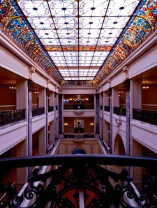 100 foot long Venetian stained-glass skylight over main hall.