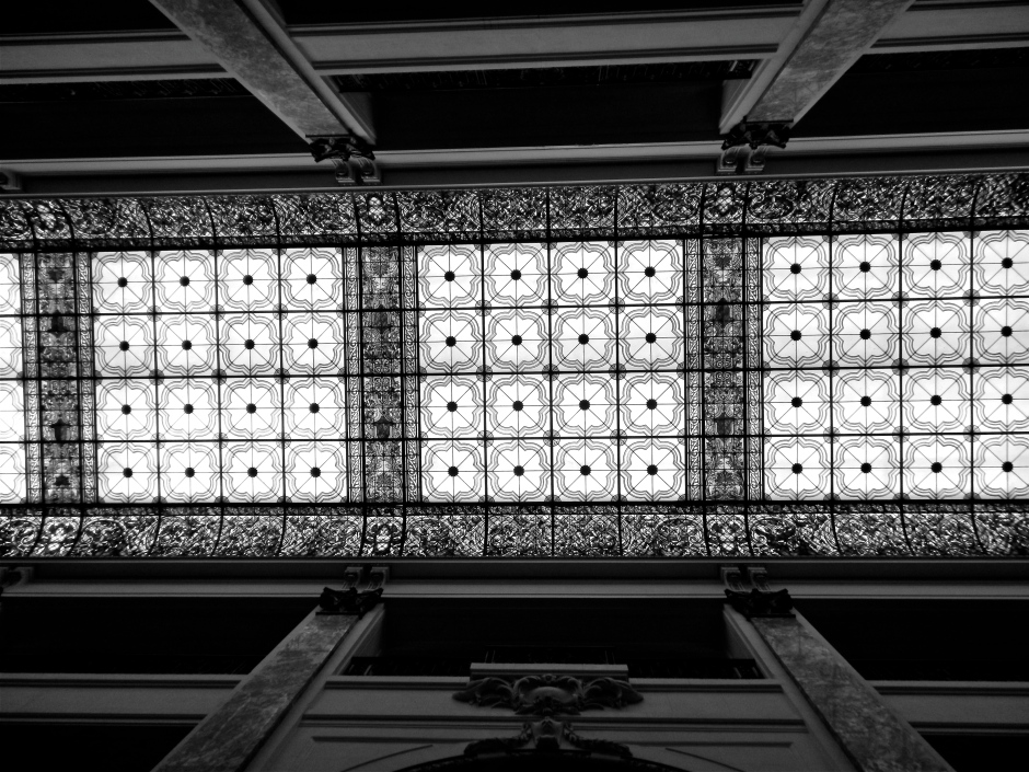 Stained-glass ceiling over Grand Hall.