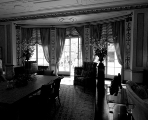 Grand Dining Room facing private garden.