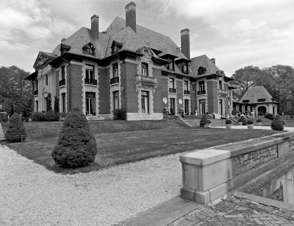 South Facade of Blairsden Mansion. Stairs on right lead to lower level terrace .