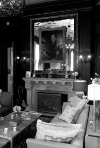 Men's Lounge/ Billiard Room at Blairsden Mansion featuring original leather walls.