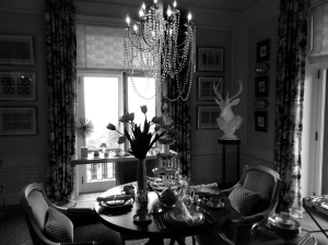 Bedroom at Blairsden transitioned in to a Tea Room for Mansion in May.