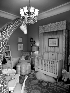 Bedroom converted in to a girl's nursery. Design by www.KristinAshleyInteriors.com