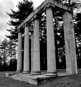 Columns originally of Philadelphia mansion (1836) moved to Princeton for the Mercer Manor in 1900. MM was demolished in 1957. Pillars remain as monument of Princeton Battlefield Park.