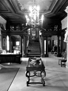Staircase in the front entry of the mansion