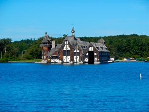 Boldt Castle Yacht House located across the river on Wellesly Island.