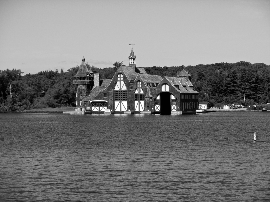 Boldt family Yacht House across the river on Wellesley Island
