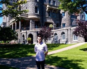 Matthew J. Niewenhous with Boldt Castle in the background.