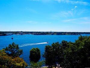 View of the St. Lawrence and Alexandria Bay from the 5th floor of Boldt Castle.
