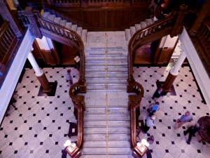 View of staircase form third floor balcony. In total, Boldt Castle has six floors.