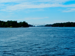 Bridge from Hill Island, Ontario to mainland Canada. Wellesley Island on the American side of the border.