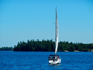 Sailboat in the St. Lawrence River (Canadian waters).