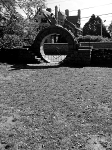 The Chinese Moon Gate with a stone chair at the top. When the home was built, the seated person could see the ocean. Wetmore made his fortune from the China trade, and had a home in China.