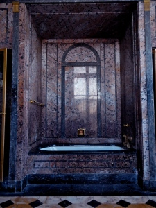 Mr. Parson's Marble bathtub. Fixtures in the bathrooms throughout the home were gilded in 14 Karat Gold.