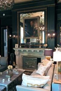 Blairsden Billiard Room. The walls and dressed with leather and the portrait above the fireplace is of Blair. It was one of the house's few original possessions still at the home.