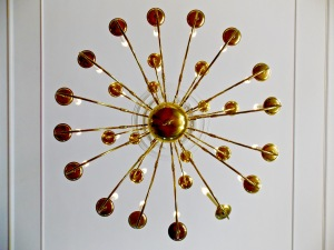 Chandelier in ballroom