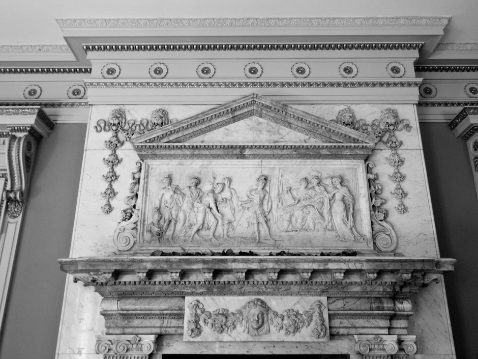 Mantle in entry hall