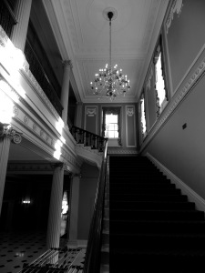Looking up from the entry hall to the second floor